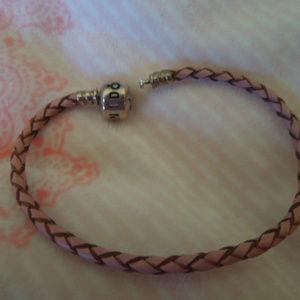 Pandora pink braided leather bracelet